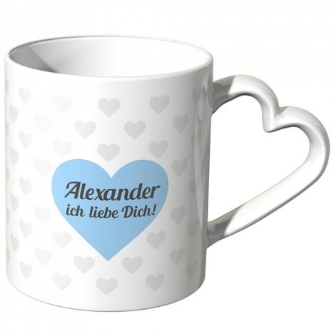 JUNIWORDS personalisierte Herz Tasse *Name* ich liebe Dich! - Blau