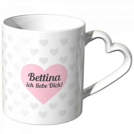 JUNIWORDS personalisierte Herz Tasse *Name* ich liebe Dich! - Rosa