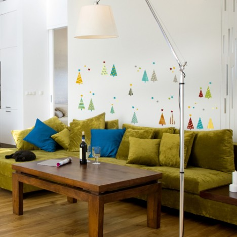 Wandsticker Set A4 - bunte Tannenbäume