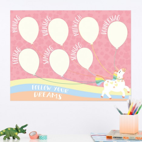 Wochenplaner Einhorn Ballons