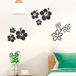 3er Set Hibiskus Blüten Wandtattoo