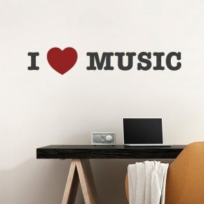 I LOVE MUSIC Wandtattoo