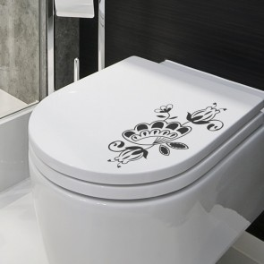 Design-WC-Deckel-Aufkleber Blumen-Ranke