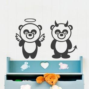 Panda Engel und Teufel Wandtattoo