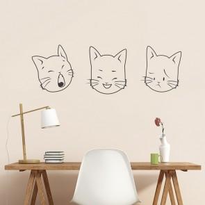 Comic Katzenköpfe Wandtattoo