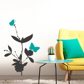 Blumen mit zwei Schmetterlingen Wandtattoo