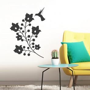 Blumen mit Kolibri Wandtattoo