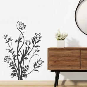Blumenranke mit Blüten Wandtattoo