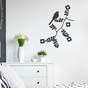 Blumenranke mit Vögelchen Wandtattoo
