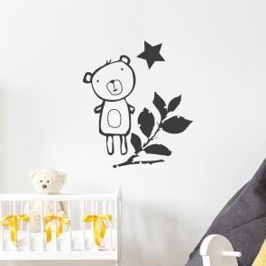 Teddybär mit Stern Wandtattoo