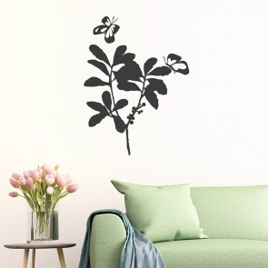 2 Schmetterlinge auf Blume Wandtattoo