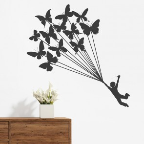 Schmetterling Luftballons Wandtattoo