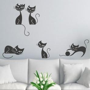 Katzen Set Wandtattoo