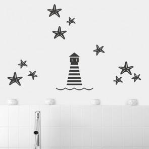 Leuchtturm und Seesterne Set Wandtattoo