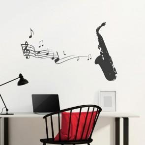 Wandtattoo - Saxophon mit Noten