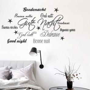 Wandtattoo Spruch - Gute Nacht Sprachen