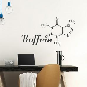 Wandtattoo Spruch - Koffein Molekül