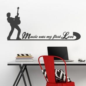 Wandtattoo Spruch - Music was my first love