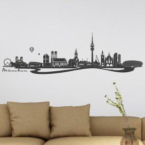 Wandtattoo Skyline München mit Fluss