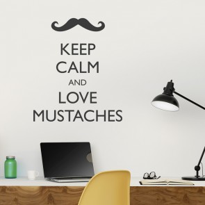 Wandtattoo Spruch - Keep calm and love mustaches