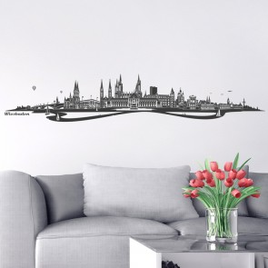 Wandtattoo Skyline Wiesbaden mit Fluss