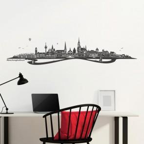 Wandtattoo Skyline Mönchengladbach mit Fluss