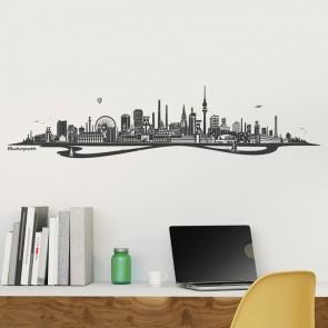 Wandtattoo Skyline Ruhrpott mit Fluss