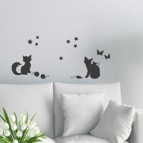 Wandtattoo A4-Set verspielte Katzen
