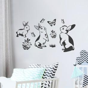 Wandtattoo Kaninchen Familie