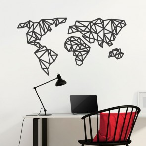 Wandtattoo Origami Weltkarte