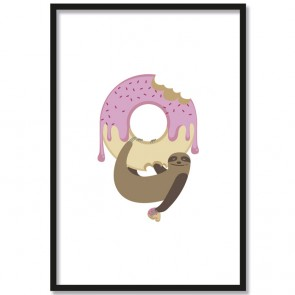 Poster Faultier Donut