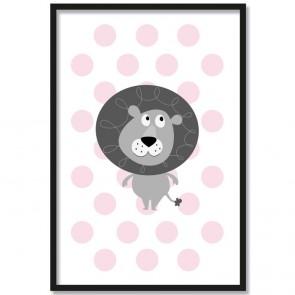 Löwe rosa poster kinderzimmer