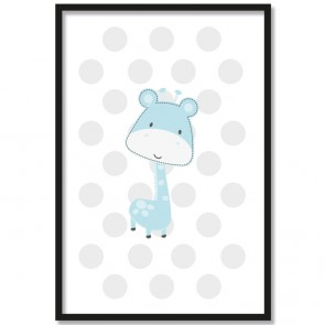 giraffe blau poster kinderzimmer