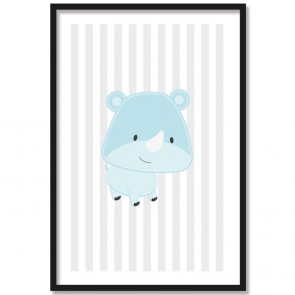 Nashorn blau poster kinderzimmer