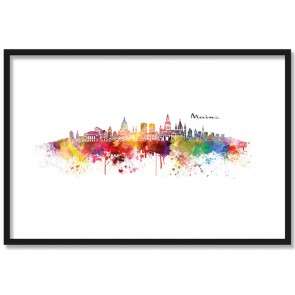 Poster Skyline Mainz Aquarell