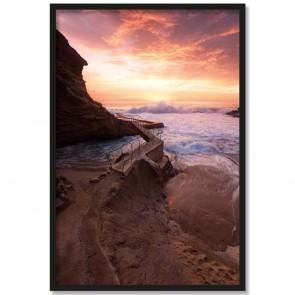 Poster Felsenbucht mit Sonnenuntergang