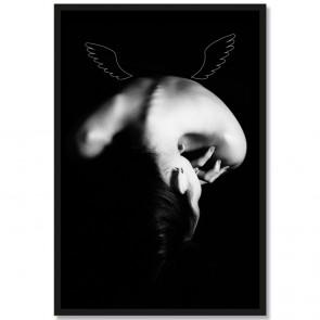 Poster Portät Engelsflügel Schwarz Weiß Rahmen