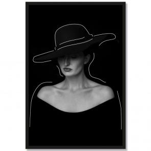 Poster Porträt Frau mit Hut Schwarz Weiß Rahmen