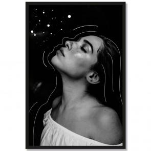 Poster Porträt Frau Streifen und Punkte Schwarz Weiß