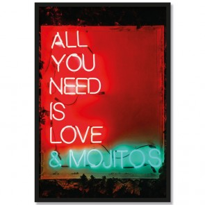 Poster mit Rahmen Leuchtschrift