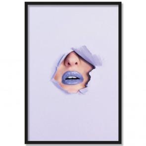 Poster Lippen Pastell Lila Rahmen