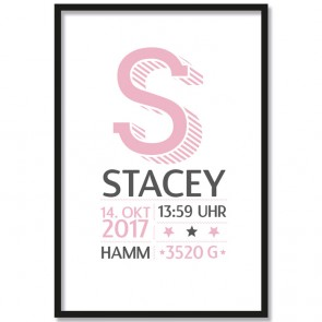 poster babyzimmer buchstabe name rosa