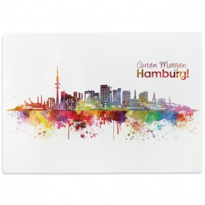 Glasschneidebrett Aquarell Skyline Hamburg