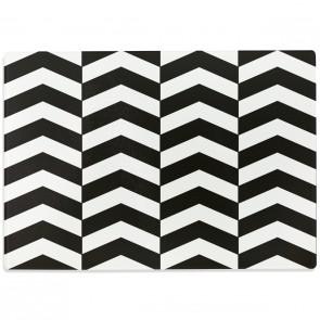 Glasschneidebrett Schwarz-Weißes Chevron Muster