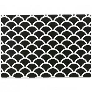 Glasschneidebrett Fischschuppen Muster Schwarz