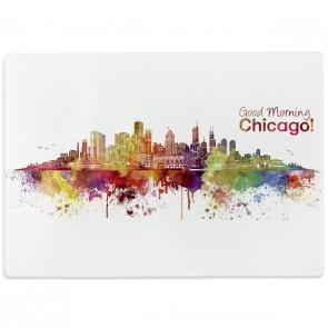 Glasschneidebrett Aquarell Skyline Chicago