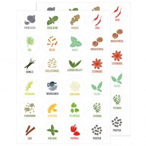 Gewürz - Etiketten Weiß, 48 Stück