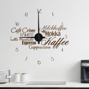Wandtattoo Uhr - Kaffeespezialitäten