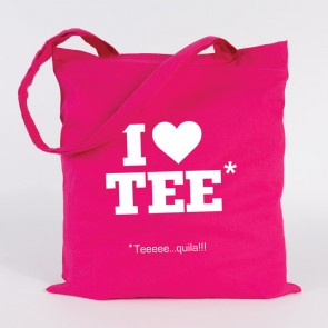 "JUNIWORDS Jutebeutel ""I love Teeeeequila"". Pink"