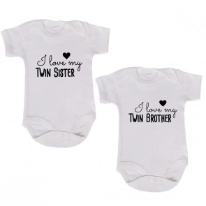 "JUNIWORDS Babybodies ""I love my twin brother & I love my twin sister"" 